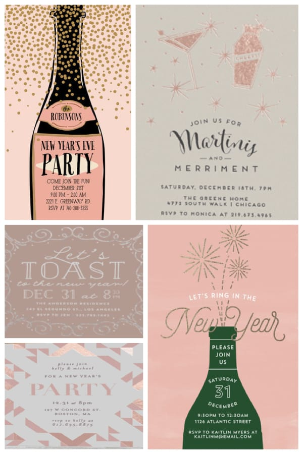 Rosy New Year Party Invitations