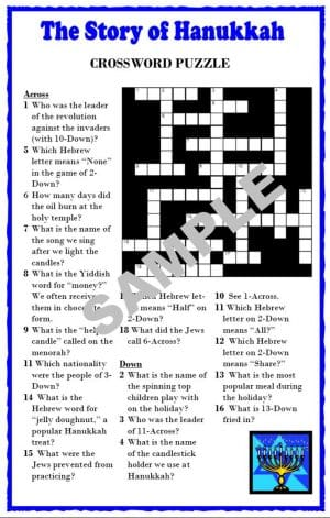 The Story of Hanukkah Crossword Puzzle