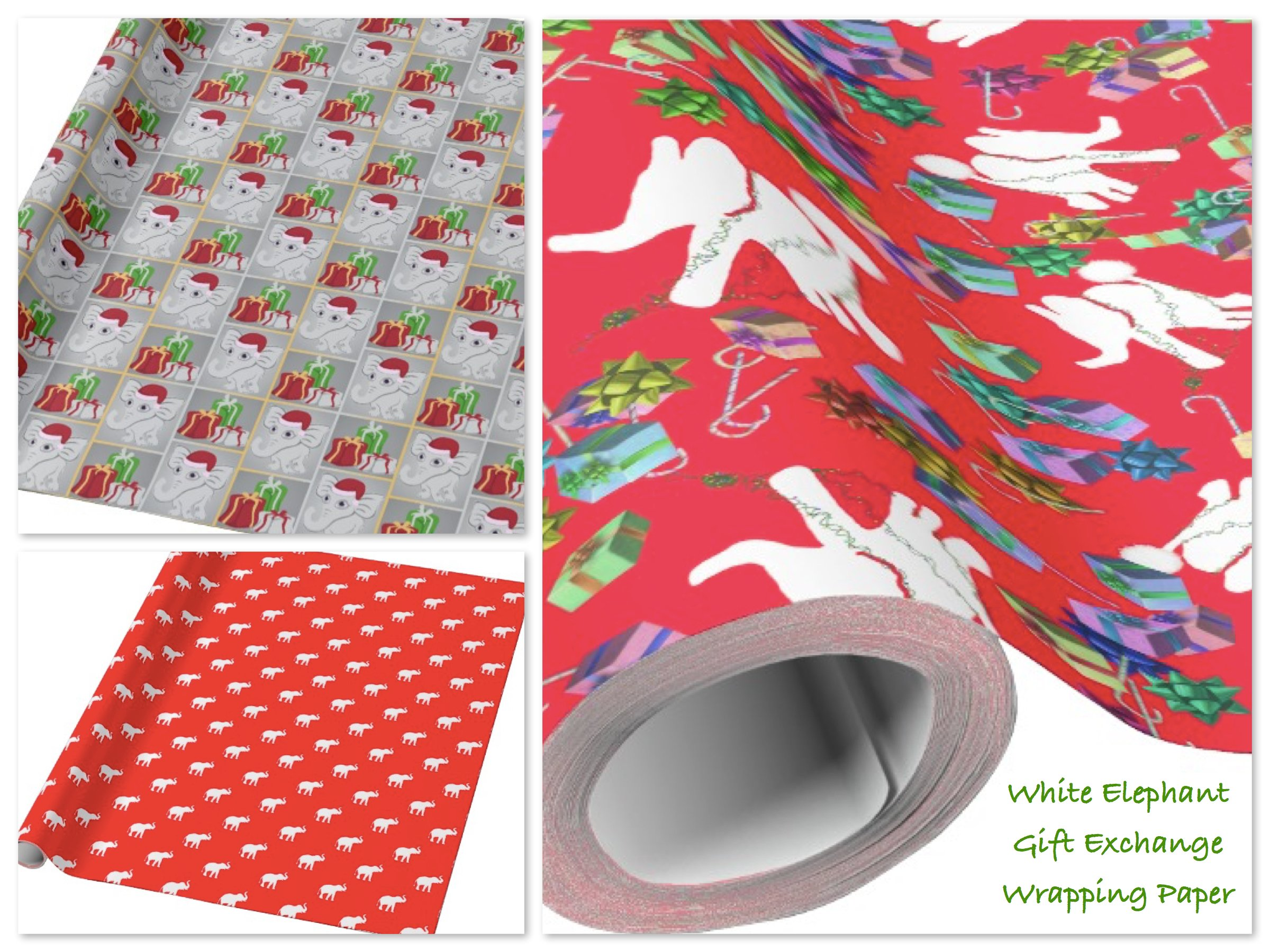 White Elephant Gift Exchange Holiday Wrapping Paper