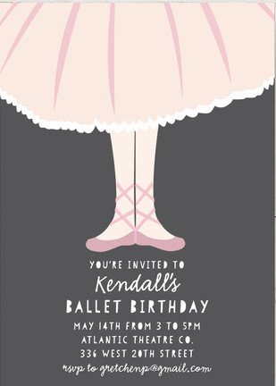 Ballet Toes Girls Birthday Party Invitations