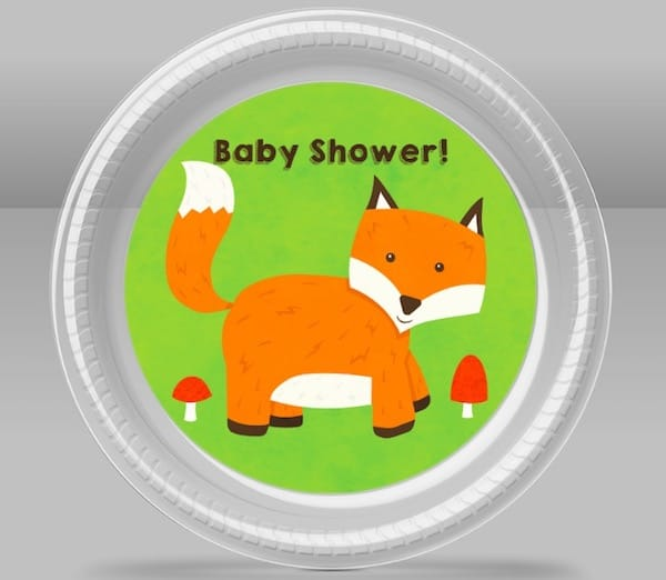 CreateUrPlate Fox Baby Shower Reusable Plates