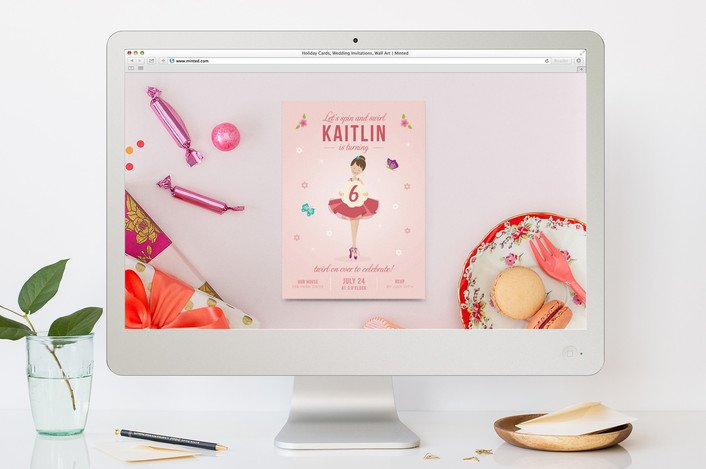 Little Ballerina Children's Birthday Party Online Invitations