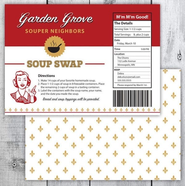 Printable Soup Swap Invitation
