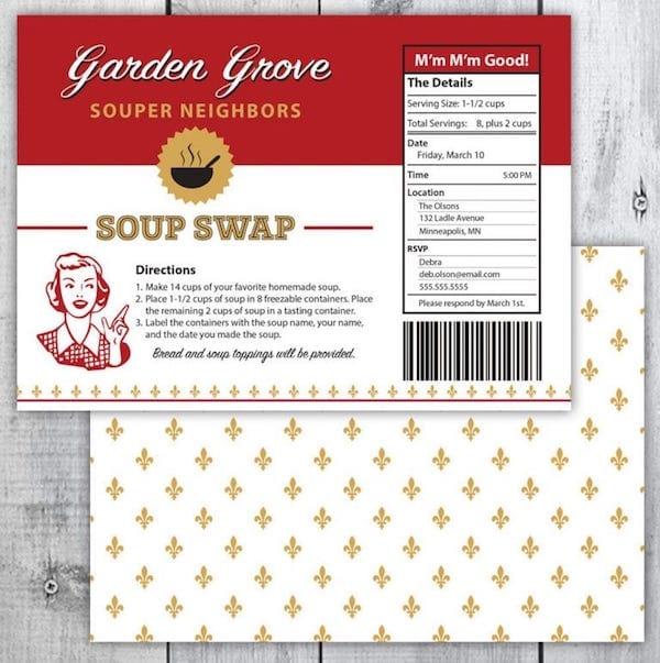 Printable Soup Swap Invitation