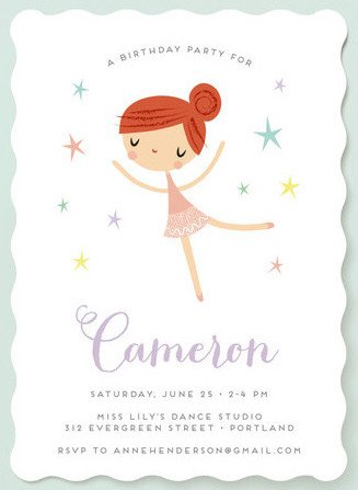 Tiny Dancer Girls Birthday Party Invitations