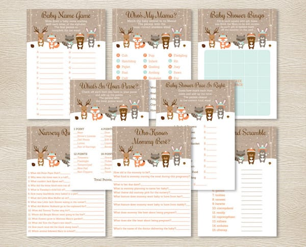 Winter Woodland Animals Baby Shower Games