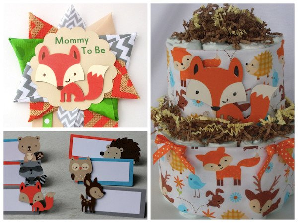Woodland Animals Baby Shower Supplies >> Mom to Be Corsage | Place Cards | Woodland Animal Diaper Cake