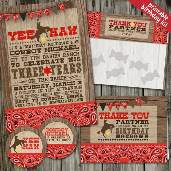 Yee Haw Cowboy Western Birthday Party Kit (PRINTABLE)