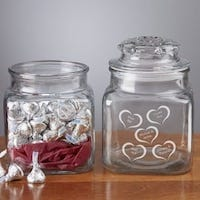 Conversation Hearts Candy Jar with Hershey's Kisses