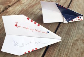 DIY Valentine Paper Airplane.