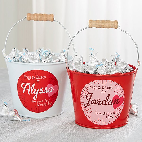 Hugs and Kisses Personalized Mini Treat Bucket