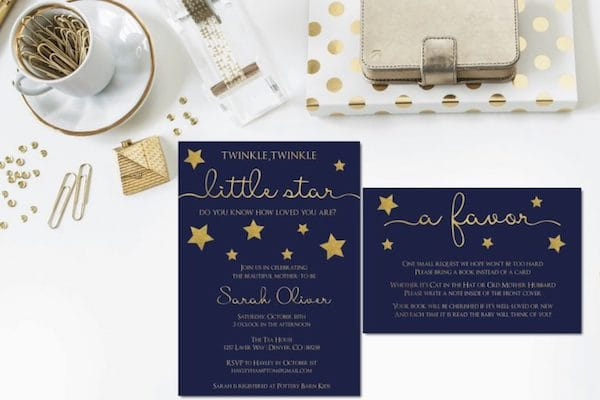 Little Star Baby Shower Invitation and Book Request