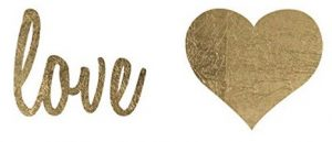 Metallic Gold Jewelry Temporary Tattoos - Love and Hearts