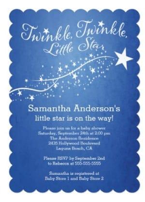 Modern little star baby shower invitation