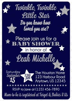 Navy Blue Twinkle Twinkle Little Star Baby Shower Invitation