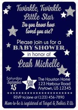 Navy Blue Twinkle Twinkle Little Star Baby Shower Invitation
