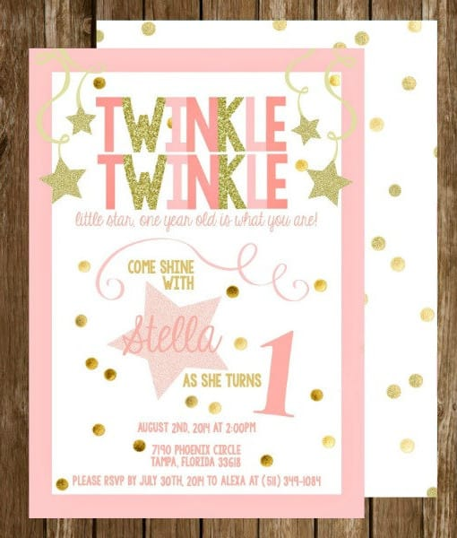 Pink and Gold Twinkle Twinkle Little Star First Birthday Invitation