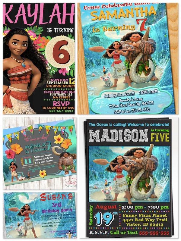 Printable Moana Birthday Party Invitations