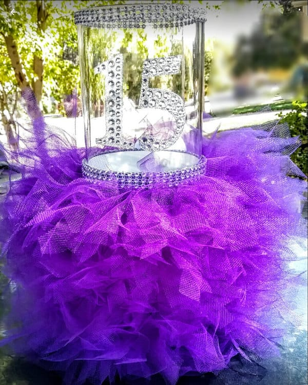 Quinceanera Sparkle Tulle and Candle Centerpiece