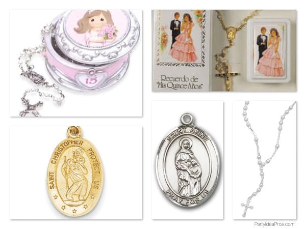 Quinceanera Rosary Saints Medals Charms