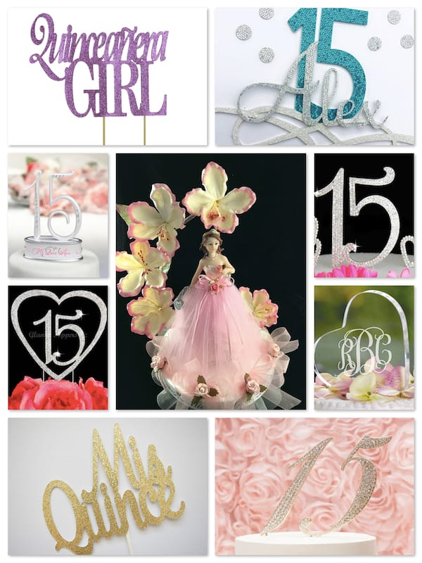 Quinceanera Sweet 15 Cake Toppers