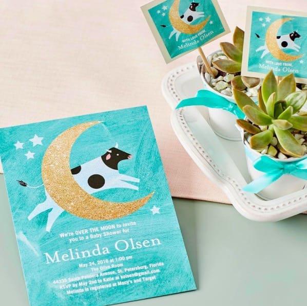 Radiant Moon Baby Shower Invitations