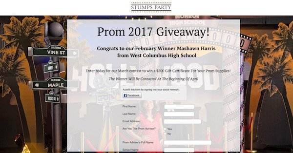 Stumps Party Prom 2017 Giveaway