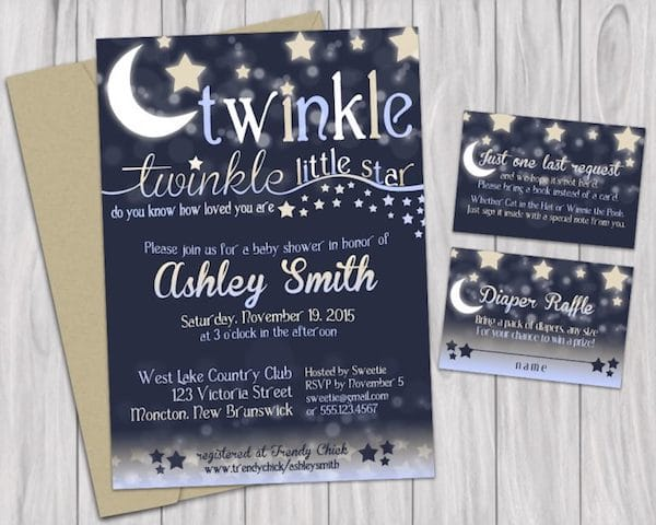 Twinkle Little Star Baby Shower Printable Invitations Book Request