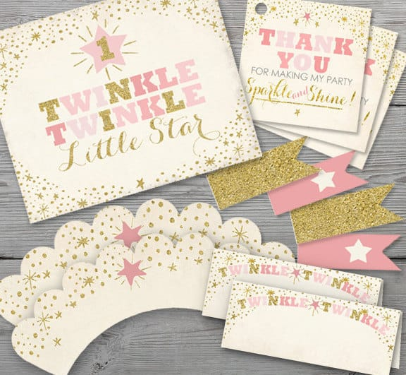 Printable Twinkle Twinkle Little Star Birthday Party Kit