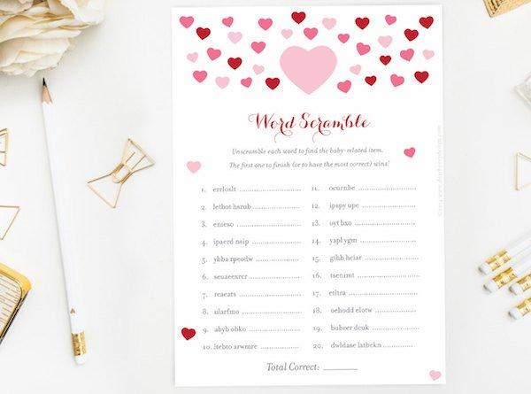 Valentines Day Word Scramble