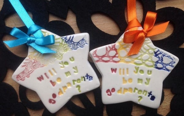Will you be my godparents ceramic star keepsake gift