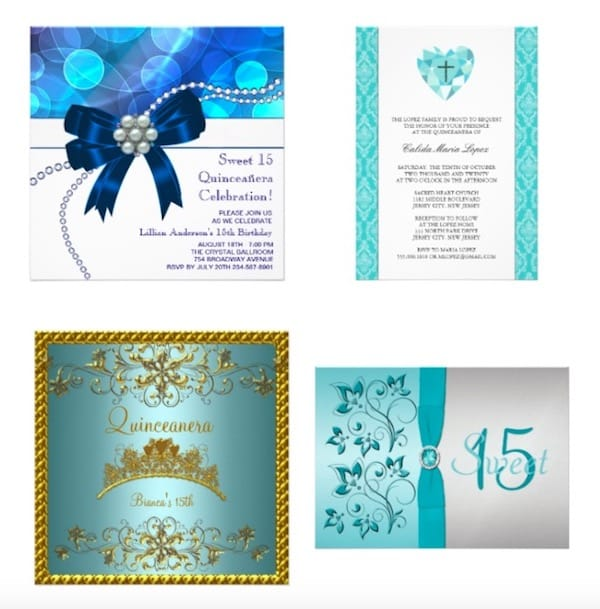 Blue quinceanera invitations customizable