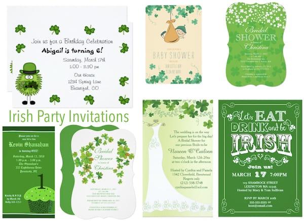 Irish Birthday Party and Shower Invitations