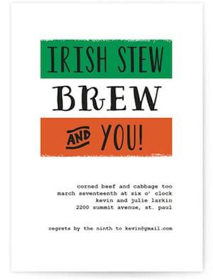 Irish Stew St Patricks Day Party Invitations