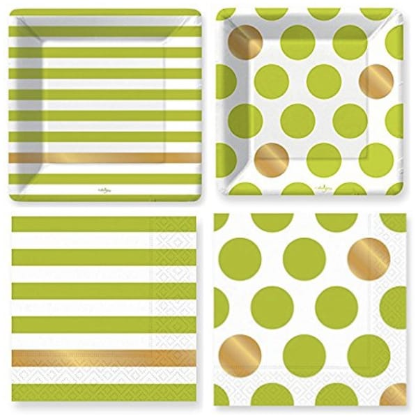 Kenzie Lime Green Paper Plates and Napkins