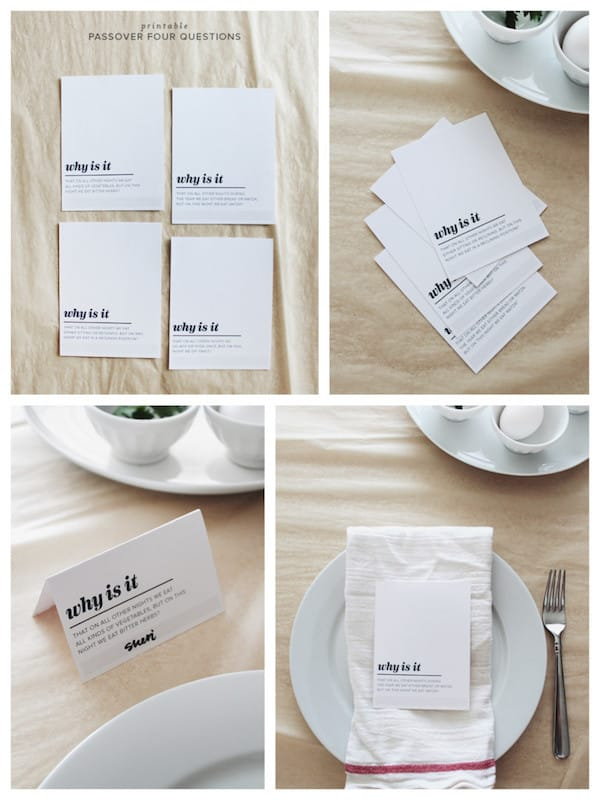 Free Printable Four Questions Passover Place Cards