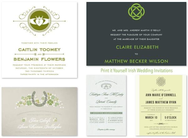 Print It Yourself Irish Wedding Invitations