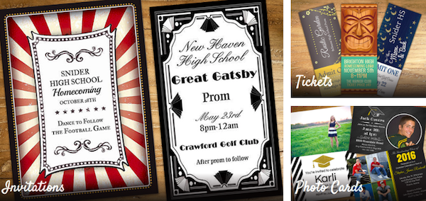 Prom Theme Invitations and Tickets