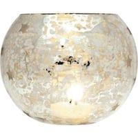 Round Mercury Glass Star Candle Holder