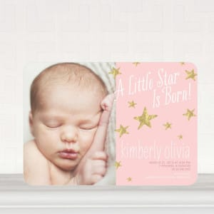 Star is Born Girl Photo Birth Announcements