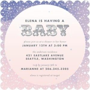 Starlight Starbright Baby Shower Invitations