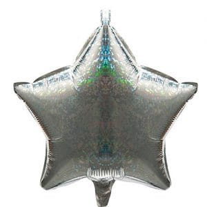 Silver Holographic Star Shaped Mylar Balloon