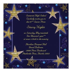Starry Night in Celestial Blue and Gold Prom Invitation