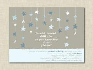Twinkle Little Star Blue Baby Shower Invitations