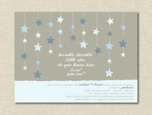 Twinkle Little Star Blue Baby Shower Invitations