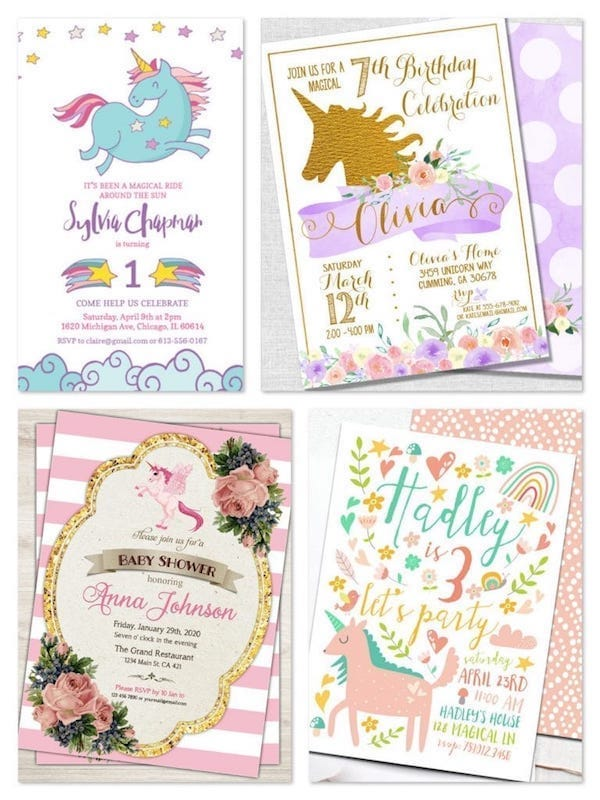 Printable Unicorn Birthday Party & Baby Shower Invitations