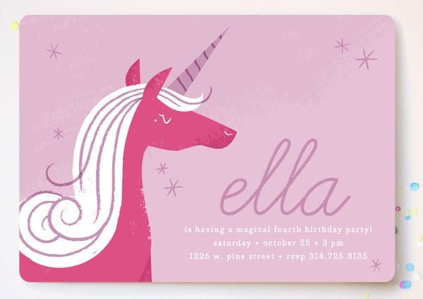 Sweet Unicorn Children's Birthday Party Invitations