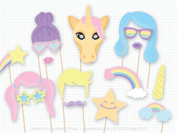 Unicorn Theme Party Printable Photo Booth Props