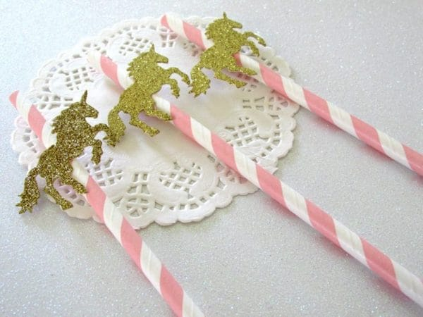 Gold Unicorn Theme Party Straws