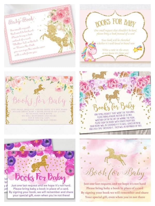 Printable Unicorn Books for Baby Invitation Insert